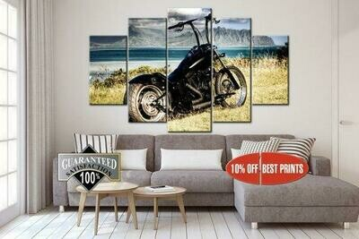 Chopper Black Old Motorcycle - 5 Panel Canvas Print Wall Art Set