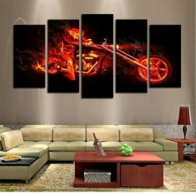 Flame Man Motorcycle - 5 Panel Canvas Print Wall Art Set