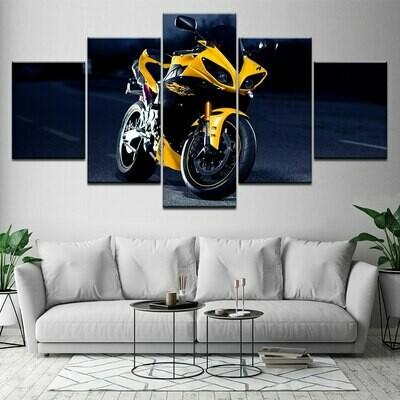 Modern Yellow Motorcycle - 5 Panel Canvas Print Wall Art Set