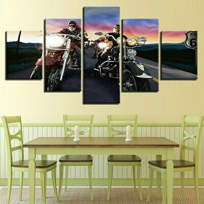 Motorbike Racer - 5 Panel Canvas Print Wall Art Set