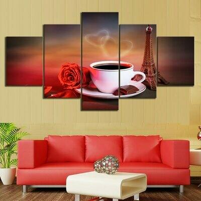 Coffee Red Rose Eiffel Tower - 5 Panel Canvas Print Wall Art Set