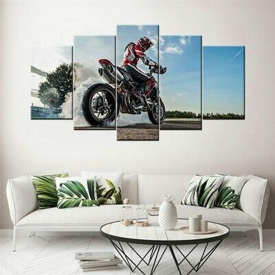 Ducati Hypermotard 950 Race Bike - 5 Panel Canvas Print Wall Art Set