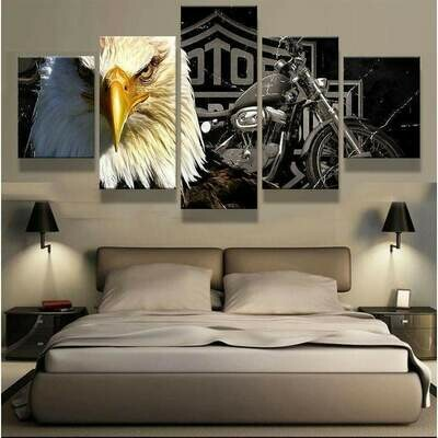 Eagle And Harley Davidson Motorcycle - 5 Panel Canvas Print Wall Art Set