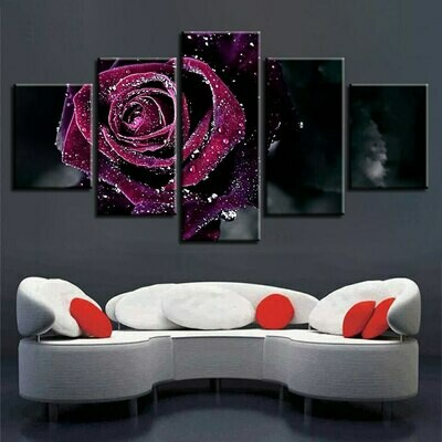 Crystal Rose - 5 Panel Canvas Print Wall Art Set