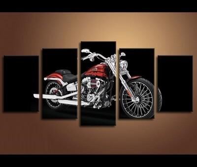 Harley Davidson Motorcycle - 5 Panel Canvas Print Wall Art Set