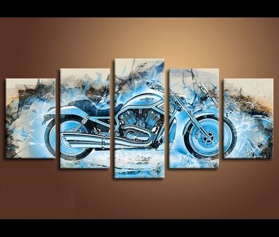 Ice Motorcycle - 5 Panel Canvas Print Wall Art Set