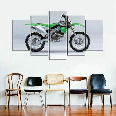 Kawasaki KX 450 F Super Bike - 5 Panel Canvas Print Wall Art Set