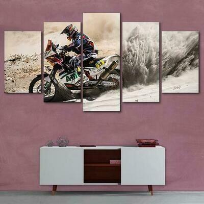 Motocross Motorcycle - 5 Panel Canvas Print Wall Art Set