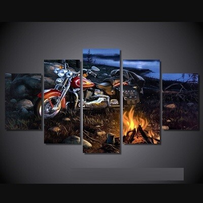 Motorcycle And Fireplace - 5 Panel Canvas Print Wall Art Set