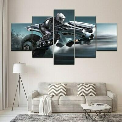 Future Motorcycle - 5 Panel Canvas Print Wall Art Set