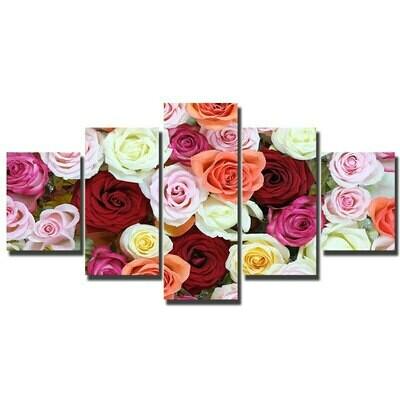 Colorful Roses - 5 Panel Canvas Print Wall Art Set