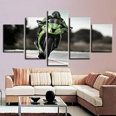 Green Motorcycle- 5 Panel Canvas Print Wall Art Set