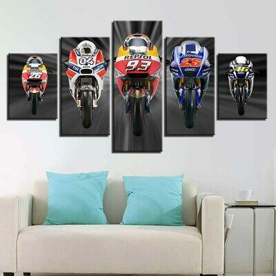 Modular Motorcycle Racing - 5 Panel Canvas Print Wall Art Set