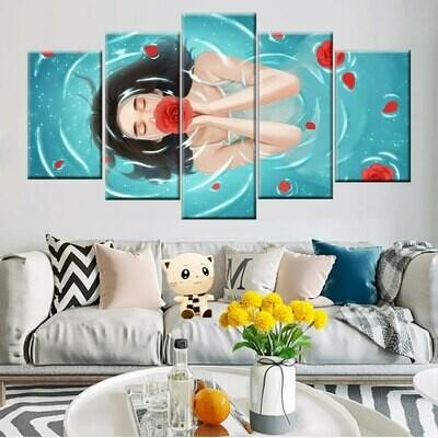 Girl Bath Rose Petals - 5 Panel Canvas Print Wall Art Set