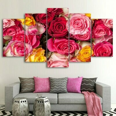 Color Roses - 5 Panel Canvas Print Wall Art Set