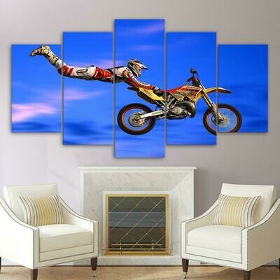 Flying Motorcycle - 5 Panel Canvas Print Wall Art Set
