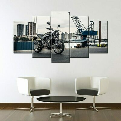 Husqvarna Svartpilen 401 Super Motorcycle - 5 Panel Canvas Print Wall Art Set