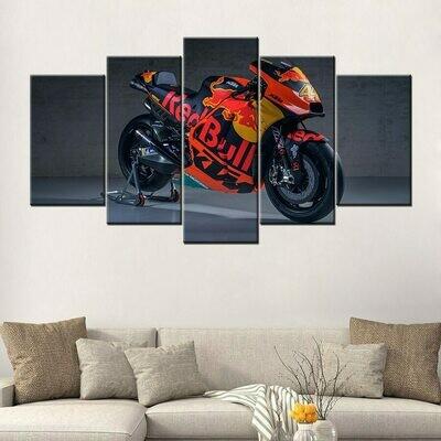 KTM Race Motorcycle - 5 Panel Canvas Print Wall Art Set
