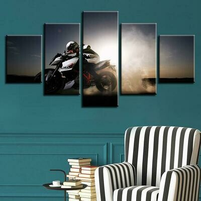 Light Behind Motorcycle - 5 Panel Canvas Print Wall Art Set