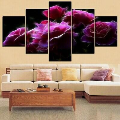 Fractal Pink Rose - 5 Panel Canvas Print Wall Art Set