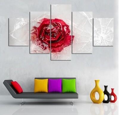 Frozen Red Rose - 5 Panel Canvas Print Wall Art Set