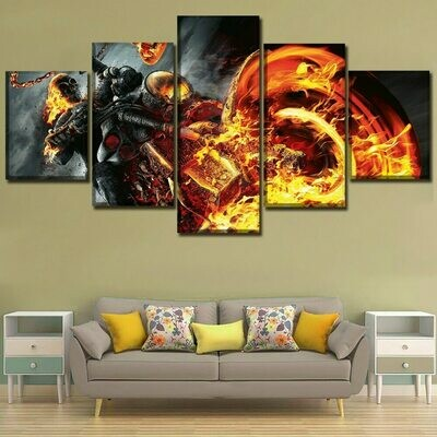 Ghost Rider- 5 Panel Canvas Print Wall Art Set