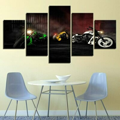 Green Yellow And White Motorcycle - 5 Panel Canvas Print Wall Art Set