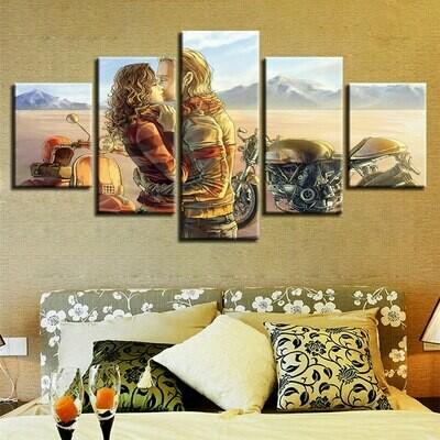 Kissing Couple Motorcycle - 5 Panel Canvas Print Wall Art Set
