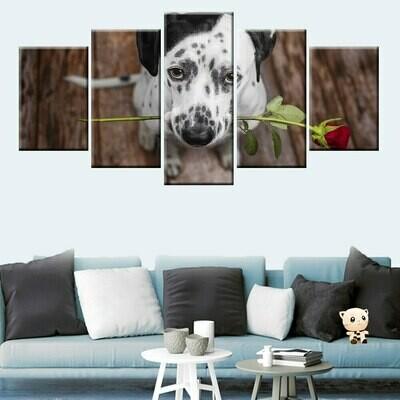 Dalmatian Send Rose - 5 Panel Canvas Print Wall Art Set