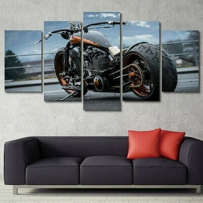 Modern Cool Motorcycle - 5 Panel Canvas Print Wall Art Set