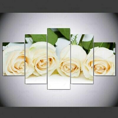 Four White Roses - 5 Panel Canvas Print Wall Art Set