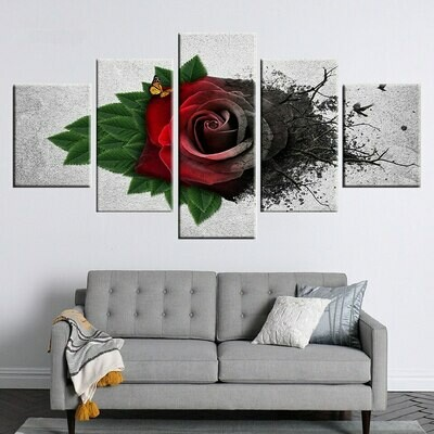 Fresh And Whither Rose - 5 Panel Canvas Print Wall Art Set
