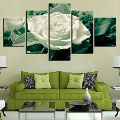 Green Leaves White Rose - 5 Panel Canvas Print Wall Art Set
