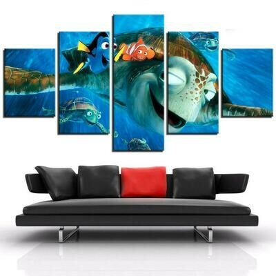 Turtles Finding Nemo - 5 Panel Canvas Print Wall Art Set