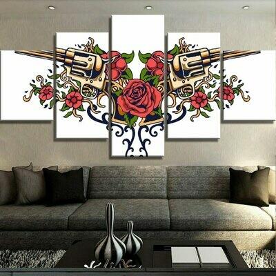 Guns And Roses - 5 Panel Canvas Print Wall Art Set
