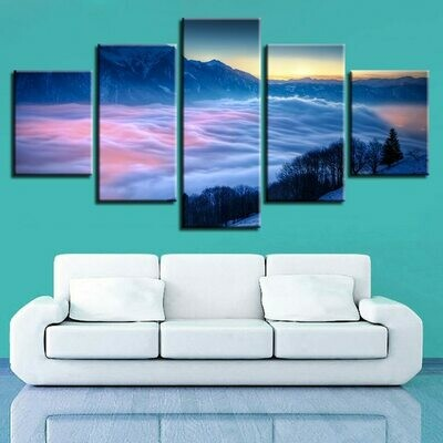 Cloud Cover Mountain - 5 Panel Canvas Print Wall Art Set