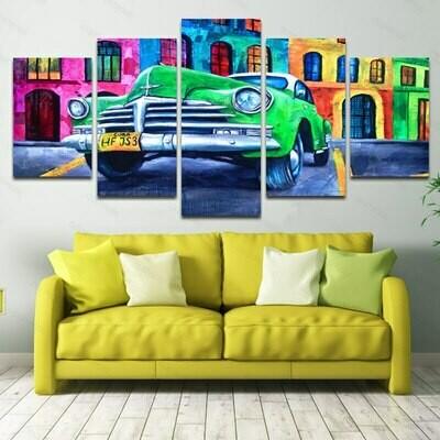 Abstract Colorful Car - 5 Panel Canvas Print Wall Art Set