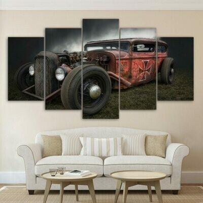 Antique Hot Rod Vintage Car - 5 Panel Canvas Print Wall Art Set