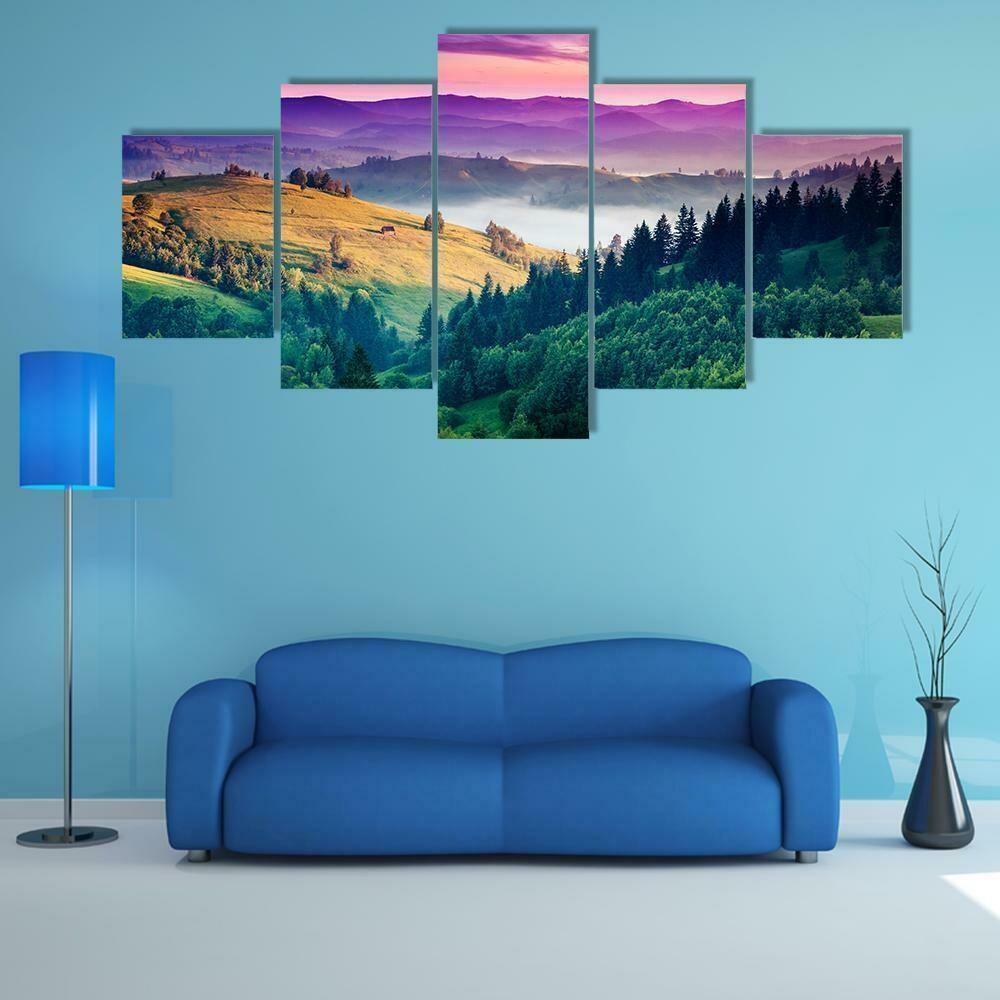 Fantastic Morning Mountain - 5 Panel Canvas Print Wall Art Set
