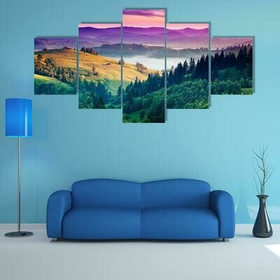 Fantastic Morning Mountain - 5 Panel Canvas Print Wall Art Set