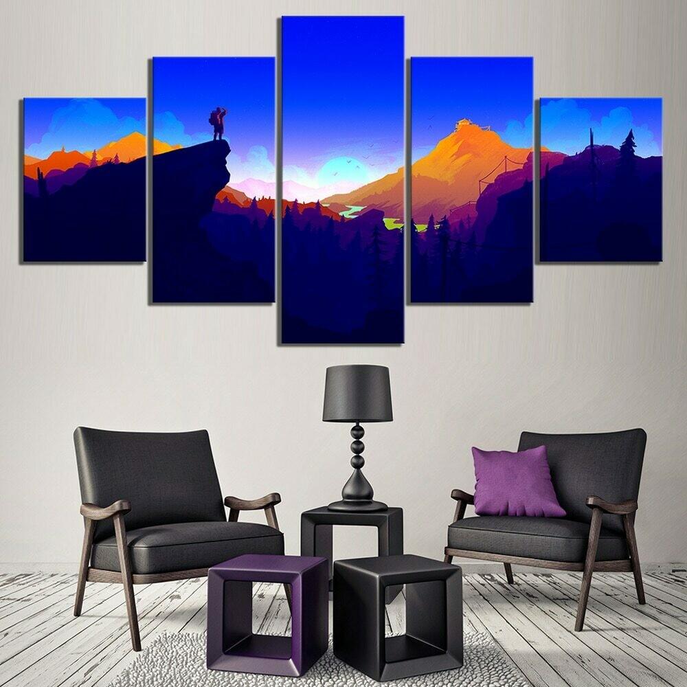 Fantasy Mountain - 5 Panel Canvas Print Wall Art Set