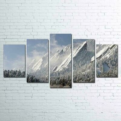 Flatirons Snow Mountain - 5 Panel Canvas Print Wall Art Set