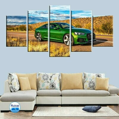 Blue Sky Natural Green Audi - 5 Panel Canvas Print Wall Art Set
