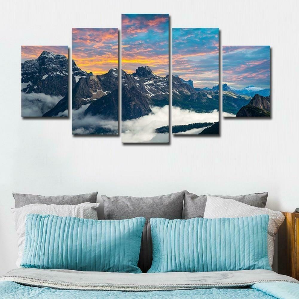 Fog Mountains - 5 Panel Canvas Print Wall Art Set