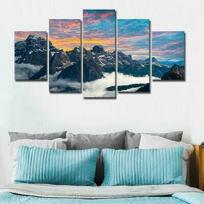 Fog Mountains - 5 Panel Canvas Print Wall Art Set