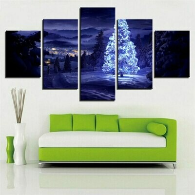 Christmas Trees On Snow Mountain - 5 Panel Canvas Print Wall Art Set