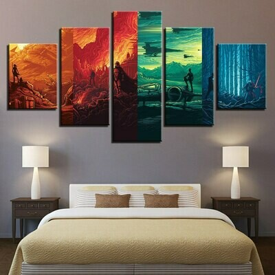Color Mountain - 5 Panel Canvas Print Wall Art Set