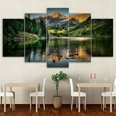 Colorado Ozero Mountain - 5 Panel Canvas Print Wall Art Set