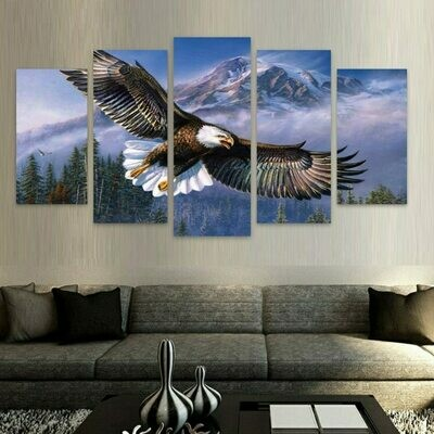 Eagle Forest Mountain - 5 Panel Canvas Print Wall Art Set