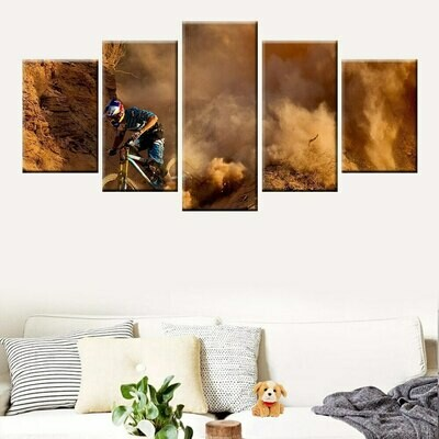 Extreme Sports Mountain Bike - 5 Panel Canvas Print Wall Art Set